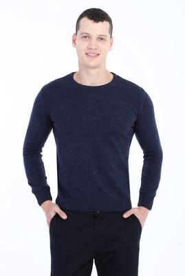 Erkek Giyim - Mavi XL Beden Bisiklet Yaka Regular Fit Triko Kazak