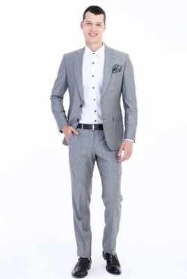 Erkek Giyim - Açık Gri 52 Beden Regular Fit Yünlü Çizgili Takım Elbise