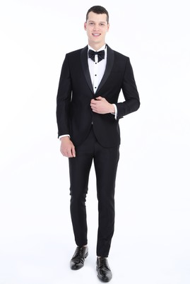 Erkek Giyim - Siyah 56 Beden Slim Fit Şal Yaka Smokin / Damatlık
