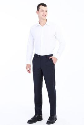 Erkek Giyim - FÜME GRİ 48 Beden Yünlü Klasik Ekose Pantolon