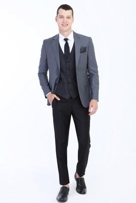 Erkek Giyim - Orta füme 50 Beden Slim Fit Yelekli Kombinli Takım Elbise