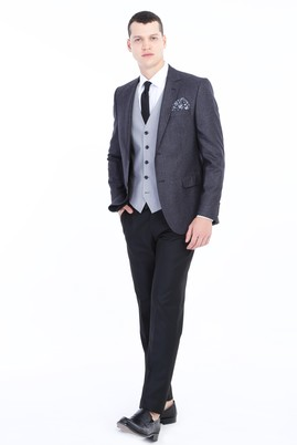 Erkek Giyim - Antrasit 44 Beden Slim Fit Yelekli Kombinli Takım Elbise