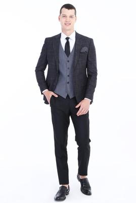 Erkek Giyim - Siyah 44 Beden Slim Fit Yelekli Kombinli Takım Elbise