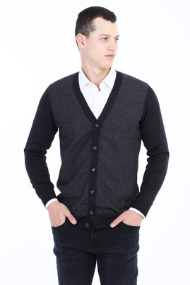Erkek Giyim - Antrasit L Beden Yünlü Regular Fit Desenli Hırka