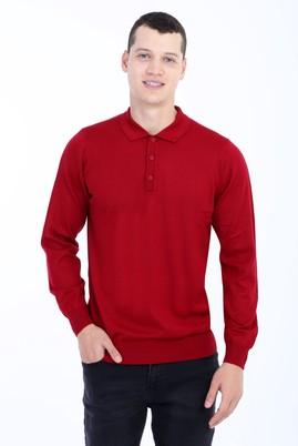 Erkek Giyim - Kırmızı L Beden Polo Yaka Triko Kazak