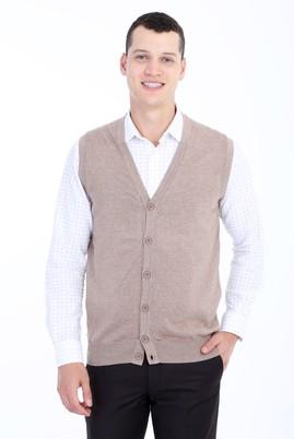 Erkek Giyim - Bej XL Beden Slim Fit Düğmeli Yelek