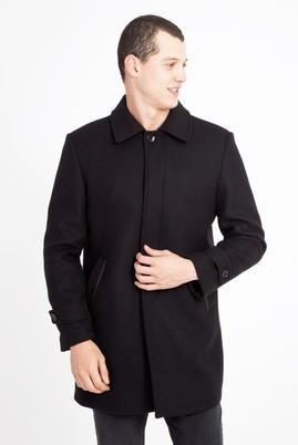 Erkek Giyim - SİYAH L Beden Yünlü Kaban