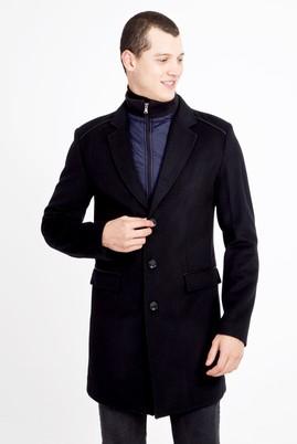 Erkek Giyim - SİYAH XL Beden Yünlü Kaban