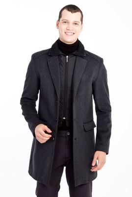 Erkek Giyim - AÇIK GRİ S Beden Yünlü Kaban