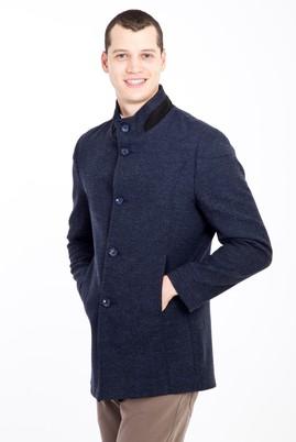 Erkek Giyim - LACİVERT XL Beden Yünlü Desenli Kaban