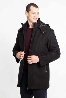 Erkek Giyim - SİYAH 3X Beden Yünlü Kapüşonlu Kaban