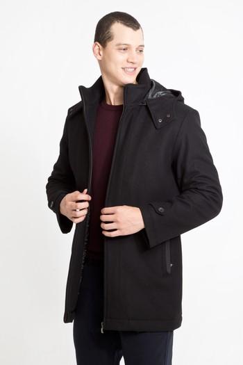 Erkek Giyim - Yünlü Kapüşonlu Kaban