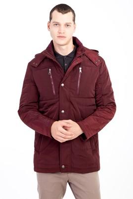 Erkek Giyim - BORDO 3X Beden Kapüşonlu Bonded Kaban