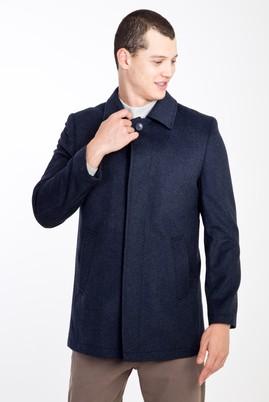 Erkek Giyim - KOYU MAVİ 56 Beden Yünlü Kaban