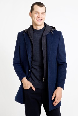 Erkek Giyim - MAVİ 60 Beden Slim Fit Yünlü Kapüşonlu Kaban