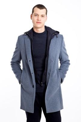 Erkek Giyim - AÇIK MAVİ 48 Beden Yünlü Kapüşonlu Kaban