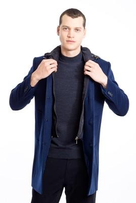 Erkek Giyim - KOYU MAVİ 46 Beden Slim Fit Yünlü Kapüşonlu Kaban