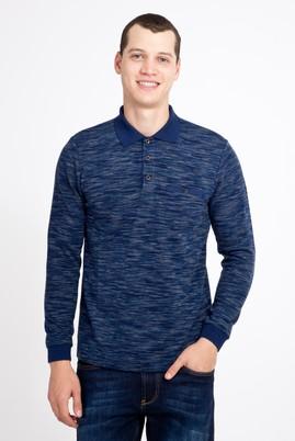 Erkek Giyim - LACİVERT 3X Beden Polo Yaka Desenli Sweatshirt