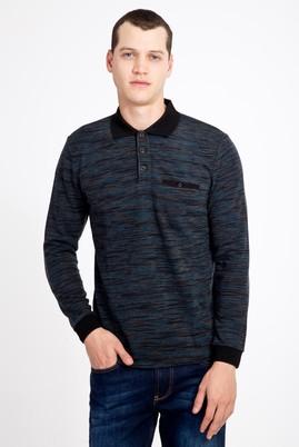 Erkek Giyim - PETROL 3X Beden Polo Yaka Desenli Sweatshirt
