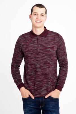 Erkek Giyim - BORDO 3X Beden Polo Yaka Desenli Sweatshirt
