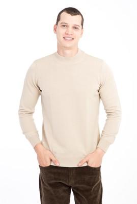 Erkek Giyim - BEJ 3X Beden Bato Yaka Regular Fit Triko Kazak