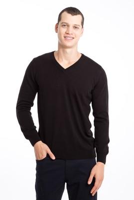 Erkek Giyim - SİYAH XXL Beden V Yaka Regular Fit Triko Kazak
