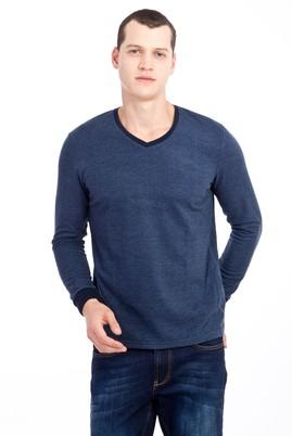 Erkek Giyim - MAVİ XXL Beden V Yaka Desenli Slim Fit Sweatshirt