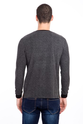 V Yaka Desenli Slim Fit Sweatshirt
