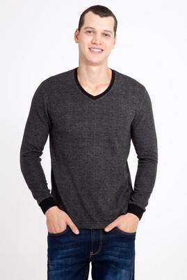 Erkek Giyim - ANTRASİT S Beden V Yaka Desenli Slim Fit Sweatshirt
