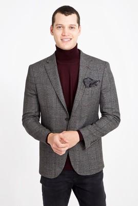 Erkek Giyim - ORTA FÜME 46 Beden Slim Fit Ekose Ceket