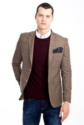Erkek Giyim - KAHVE 46 Beden Slim Fit Ekose Ceket