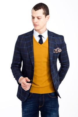 Erkek Giyim - LACİVERT 46 Beden Slim Fit Ekose Ceket