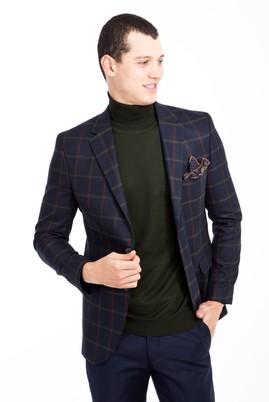Erkek Giyim - KOYU YESİL 46 Beden Slim Fit Ekose Ceket