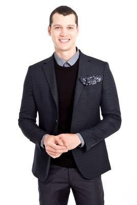 Erkek Giyim - LACİVERT 46 Beden Slim Fit Desenli Ceket