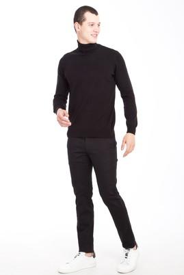 Erkek Giyim - SİYAH 50 Beden Slim Fit Saten Spor Pantolon