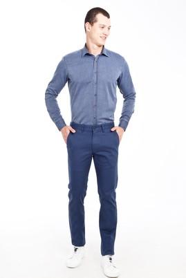 Erkek Giyim - KOYU MAVİ 48 Beden Slim Fit Saten Spor Pantolon
