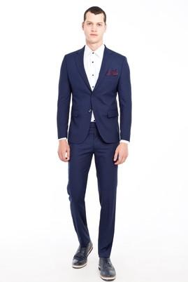 Erkek Giyim - LACİVERT 48 Beden Slim Fit Desenli Takım Elbise