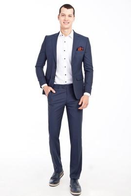 Erkek Giyim - MAVİ 46 Beden Slim Fit Desenli Takım Elbise