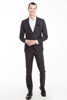 Erkek Giyim - ANTRASİT 54 Beden Slim Fit Desenli Takım Elbise