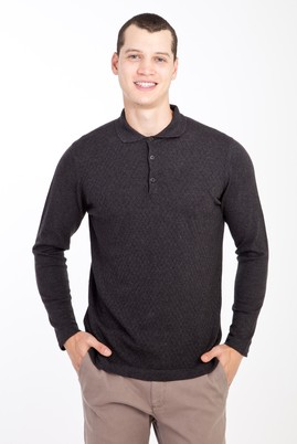 Erkek Giyim - ANTRASİT XL Beden Polo Yaka Desenli Triko Kazak