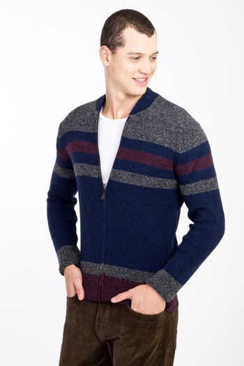 Erkek Giyim - Fermuarlı Yünlü Desenli Slim Fit Triko Hırka
