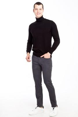 Erkek Giyim - FÜME GRİ 50 Beden Slim Fit Desenli Spor Pantolon