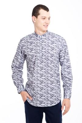 Erkek Giyim - SİYAH L Beden Uzun Kol Hakim Yaka Yarım Pat Desenli Gömlek