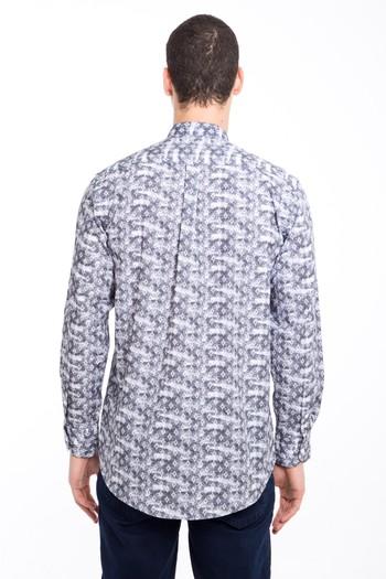 Erkek Giyim - Uzun Kol Hakim Yaka Yarım Pat Desenli Gömlek