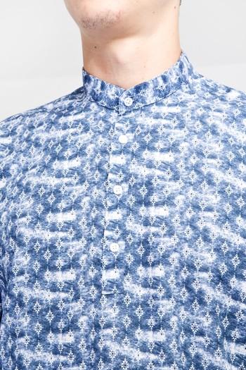 Erkek Giyim - Uzun Kol Hakim Yaka Yarım Pat Desenli Pamuk Gömlek