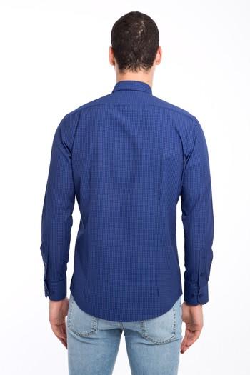 Erkek Giyim - Uzun Kol Kareli Slim Fit Gömlek
