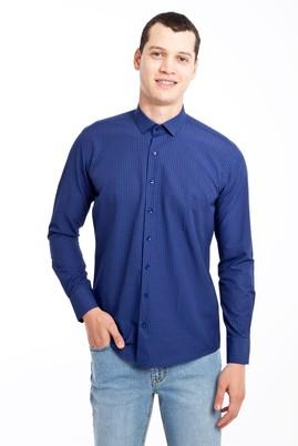 Erkek Giyim - LACİVERT L Beden Uzun Kol Kareli Slim Fit Gömlek