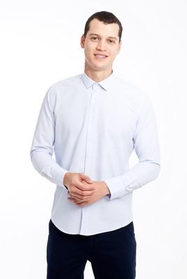 Erkek Giyim - BEYAZ XL Beden Uzun Kol Kareli Slim Fit Gömlek