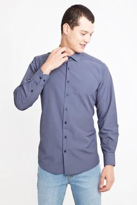 Erkek Giyim - LACİVERT L Beden Uzun Kol Kareli Klasik Gömlek