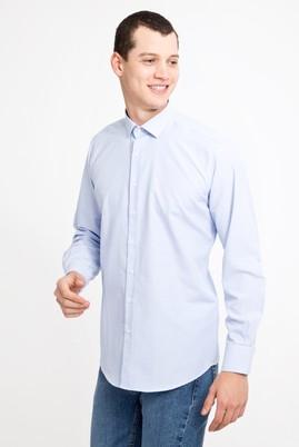 Erkek Giyim - MAVİ L Beden Uzun Kol Kareli Klasik Gömlek